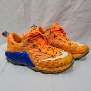 NIKE LeBron XII 12 Low Orange Blue Basketball Shoe